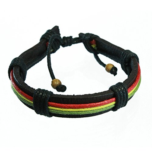 Rasta Leather Band Bracelet with Red, Yellow and Green Wax Cotton Cord (Yellow Wax Cord Bracelet)