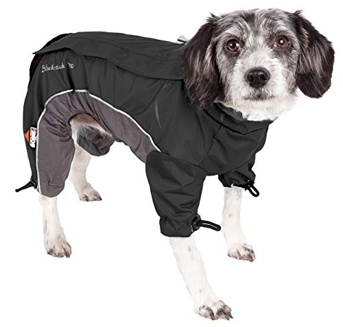 DOGHELIOS 'Blizzard' Full-Bodied Comfort-Fitted Adjustable and 3M Reflective Winter Insulated Pet Dog Coat Jacket w/ Blackshark Technology, Medium, Black