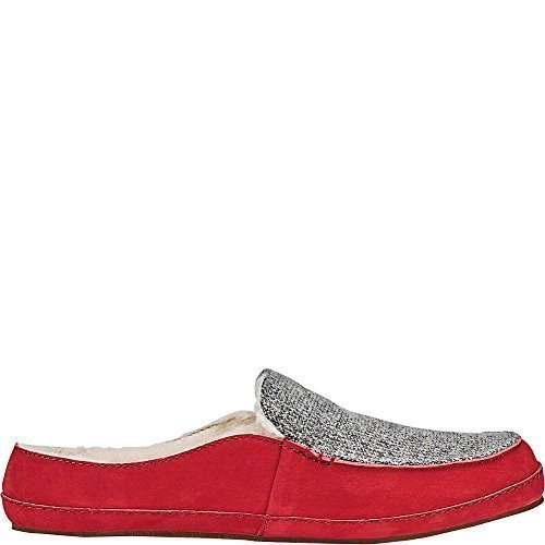 OluKai Womens Alaula Slipper (8 - Cooler Grey/Red Mud)