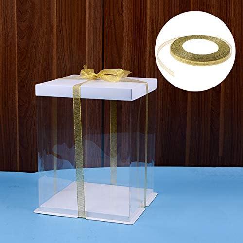 Healifty 5PCSポリエステルシルクリボンギフトリボンカールリボンギフトプレゼントお土産クラフト0.6CM(ゴールデン)