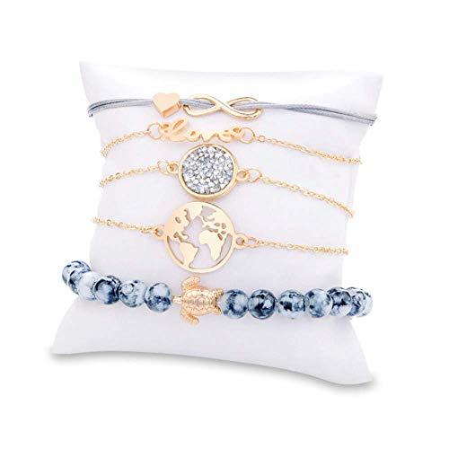 Set Bead Bracelet Stretch (ALMAATA Jewelry Vintage Boho Baroque Bohemian Multilayer Summer Slip-On Beads Stretch Charm Bracelet Set Bangle for Women Girls (Black))