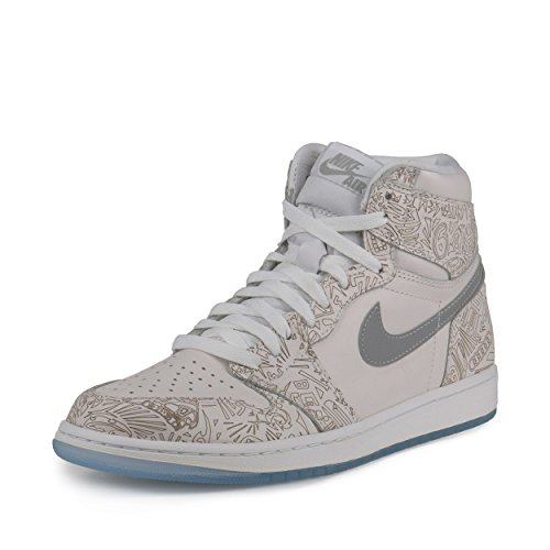 Nike Mens Air Jordan 1 Retro Hi OG Laser White/Metallic Silver Leather Size 9.5 Basketball Shoes by NIKE
