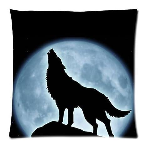 Amazon.com: Lobo aullando en luna – Caso Cojín cuadrado ...
