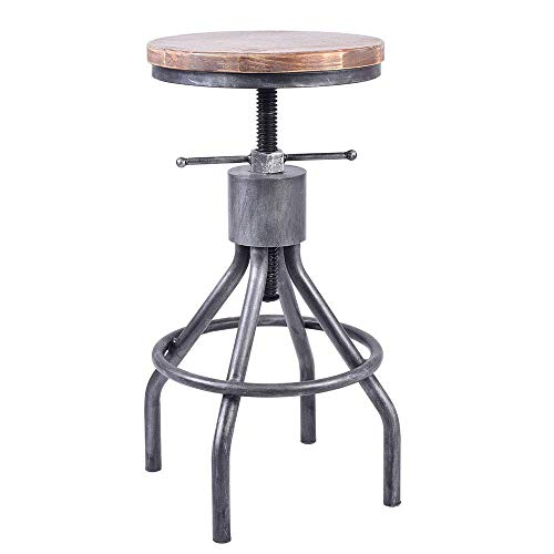 (VINTAGELIVING Industrial Bar Stool Swivel Kitchen Island Dining Chair Counter Height Adjsutable 22-30inch)