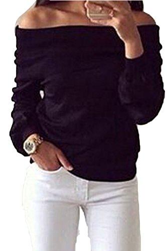 De la mujer Casual suelto fuera de la camisa de moda T de hombro Black