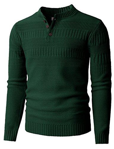 H2H Men's Merino Henley Sweater Khaki US S/Asia M (KMOSWL0127)