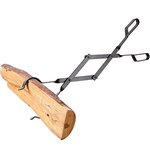 """Amagabeli Fireplace Log Tongs 26"""" Heavy Duty Indoor Firewood Wrought Iron Claw Grabber for Wood Stove Outdoor Long Tweezers Pit Campfire Fire Place Tools (Heavy Duty Firewood)"""