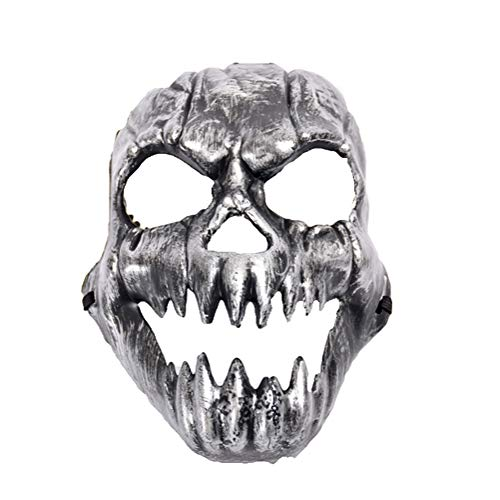 Halloween Adults Kids Mask Decoration Masquerade Antler Half Face Festival Party Supplies Cosplay Props(Silver Demon) -