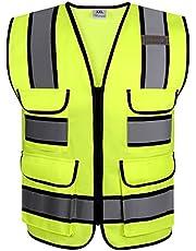 RYACO Reflecterend Vest, hoge zichtbaarheid ANSI klasse 2 veiligheidsvest met reflecterende strips, 4 zakken en ritssluiting aan de voorkant, ANSI/ISEA-normen