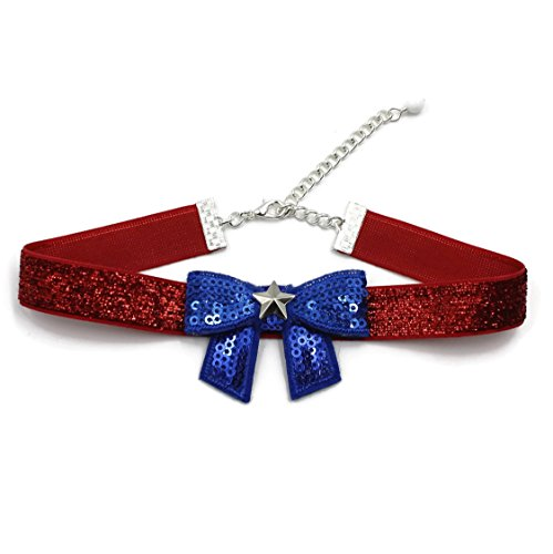 Usa Costume For United Nation (Arthlin Patriotic Women Bow Tie Choker Necklace in American Flag Colors - Glittery Red, White and Blue - Fun Accessory for 4th of July, Made in USA)