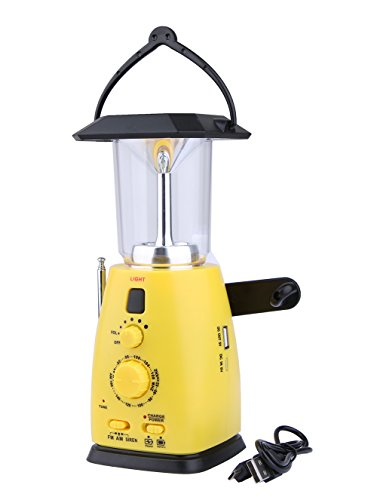 Garyesh 4-way Powered Solar Hand Crank Emergency LED Camping Lantern with FM Radio
