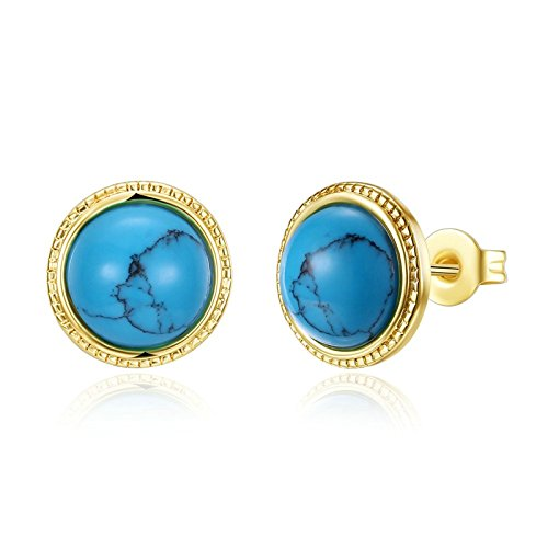 Aokarry Women's Earrings Synthetic-turquoise Round Egg Copper Screw Back Stud Earrings Gold Plated