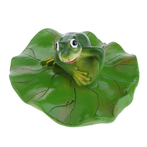 D DOLITY VARIOUS Creative Animal Ornament Water Floating Frog on Lotus Leaf Figurine Resin Green Plants Kid Toys Fountain Decoration Garden Decor - Standing, as described by D DOLITY