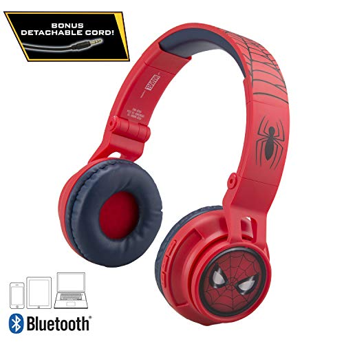 Spiderman Kids Bluetooth Headphones for Kids Wireless Rechargeable Foldable Bluetooth Headphones with Microphone Kid Friendly Sound & Bonus Detachable Cord