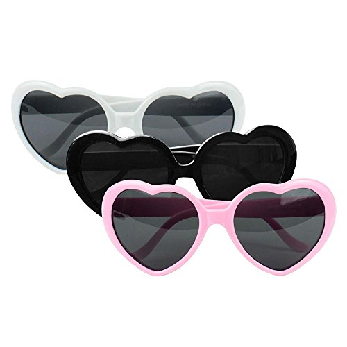 niceEshop(TM) 3pcs Super Cute Oversized Heart Shaped Plastic Frame Sunglasses Eyewear