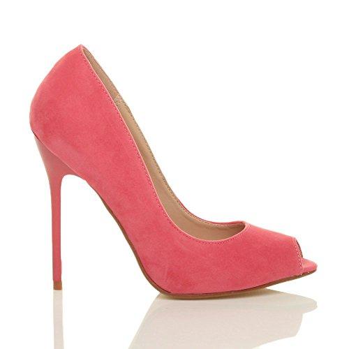 Ajvani Zapatos de tacón para mujer, puntera abierta estilo peep toe Rosa - Pastel Coral Suede