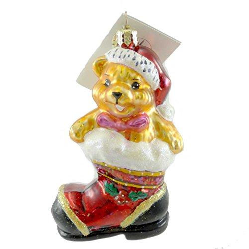 - Christopher Radko TEDDY BOOT Glass Ornament Bear Santa Christmas