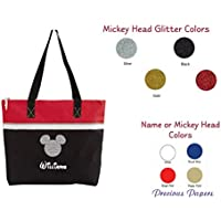 Personalized Mouse head Red and black tote bag for a cruise or a trip to amusement park your name with choice of colors