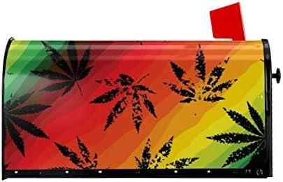 ウェルカムメールボックスカバー幾何学的な背景に麻の葉磁気包装レターボックスポストボックスカバーガーデンヤードの装飾25.5x21 インチ