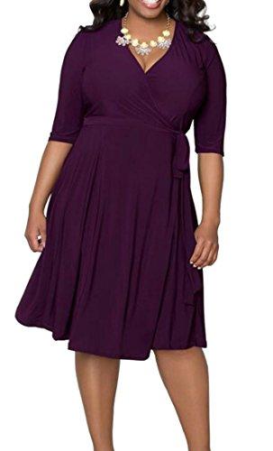 Les Femmes Domple Grand Et Haut Froncé Solide Casual 1/2 Manches Robe Midi Col V Violet