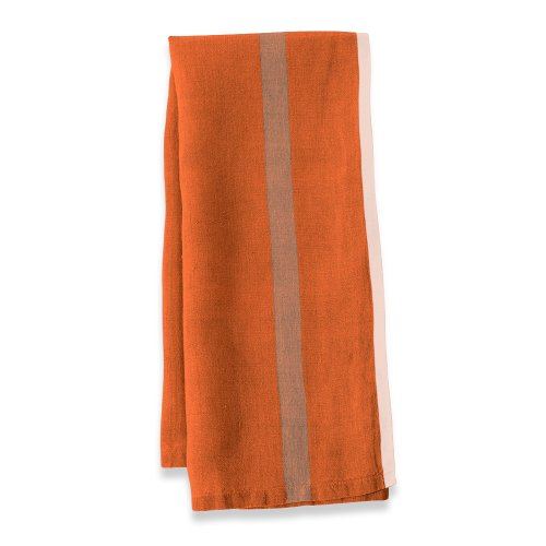 Caravan Collection by Couleur Nature Laundered Linen Stripe Tea Towels, 20-inches by 30-inches, Orange/Natural, Set of 2 (Stripe Towel Nostalgic Tea)