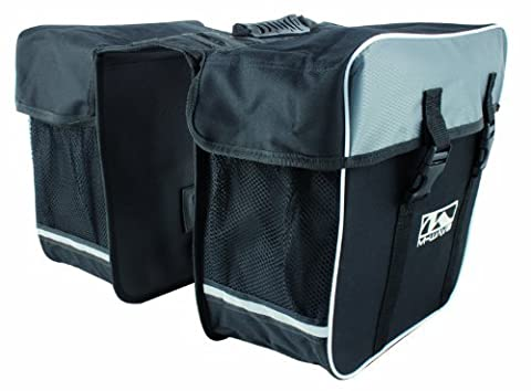 M-Wave Bicycle Cycling Pannier Bag, Black/Grey - Tour Rack