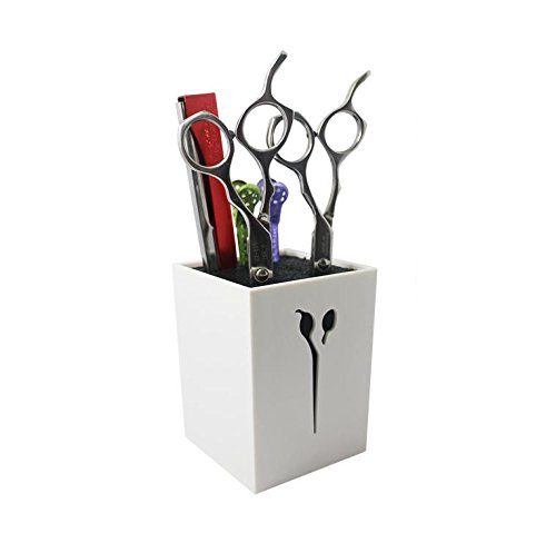 Chris.W Professional Salon Scissors Holder/Organizer/Storage Box/Block for Hair Stylist Tool Hairdressing Barber Combs Clamps(White)