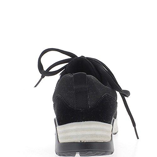 Baskets ville femme noires semelle épaisse paillettes, verni et daim