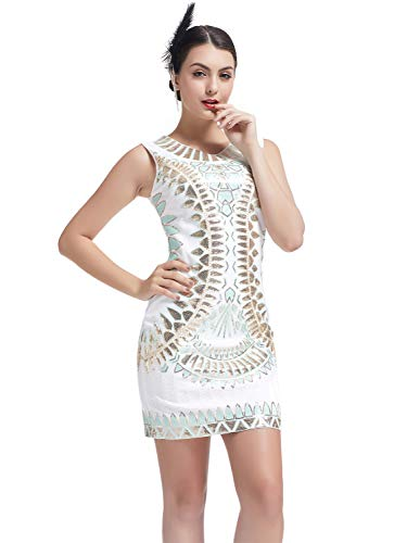 KILOLONE 1920s Vintage Deco Beaded Sequin Embellished Flapper Dress Evening Prom White
