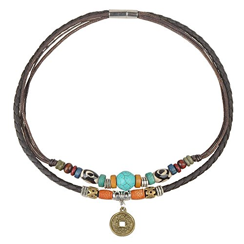 Ancient Tribe Women's Hemp Genuine Leather Turquoise Bead Choker Necklace,15 Inches (Brown) -