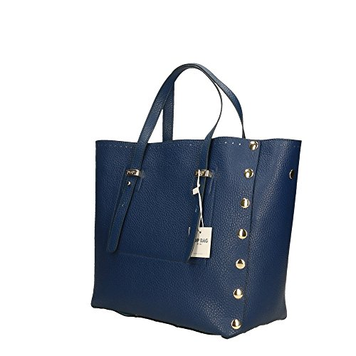 Cm Sac Bleu femme véritable à Bags Impression main 28x27x13 POP Dollar in Italy en Made cuir 5Fq6n
