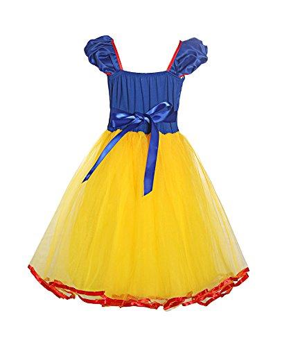 Loel Little Girls Elastic Waist Snow White Dress up Backless Costume