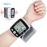 Wrist Digital Blood Pressure Monitor, Blood Pressure Tester Automatic Digital Voice LCD Digital Display USB Charge for Elders