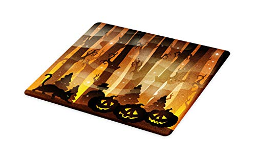 Lunarable Halloween Cat Cutting Board, Mysterious Forest Tombstones and Pumpkins, Decorative Tempered Glass Cutting and Serving Board, Large Size, Chocolate Pale Cinnamon Charcoal Grey Mustard