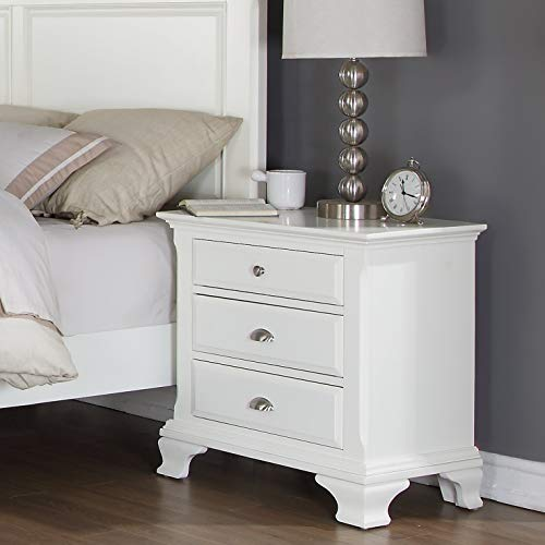 Roundhill Furniture Laveno 012 White Wood 3-Drawer Night Stand ()