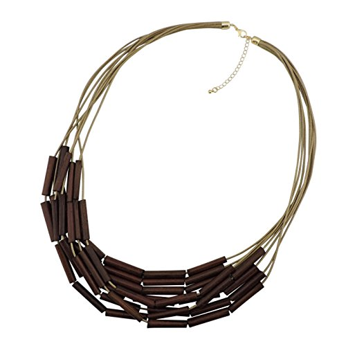 Bocar Long Multiple Strand Wood Beaded Statement Necklace for Women (NK-10500) by Bocar (Image #3)