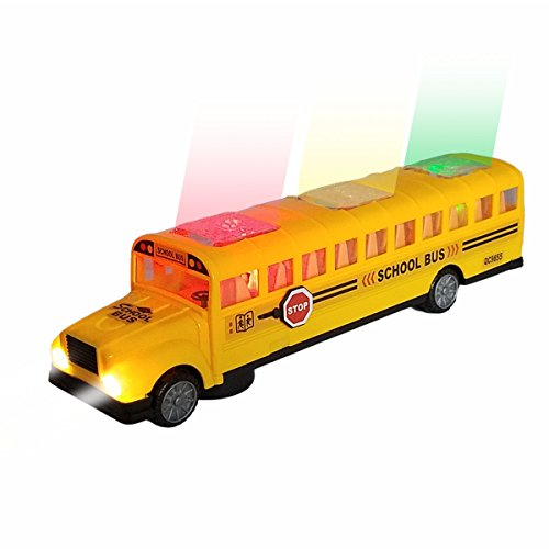 Battery Operated Electric Playtime Long-Nose Yellow School Bus | Beautiful Flashing Lights including Headlights | Bump and Go Action | Playing Music and Horn Sounds | Stop Sign Swings Open!! (Age - Playtime Bus