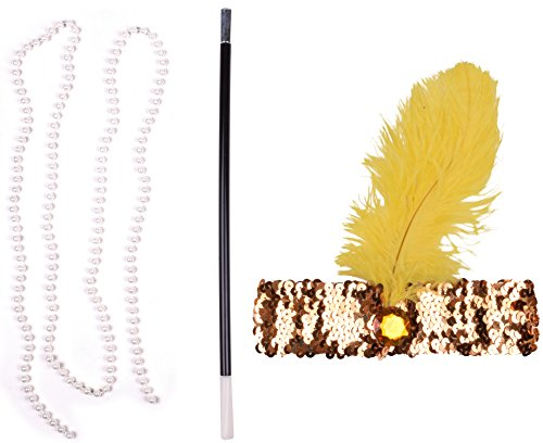 1920s Plastic Cigarette Holders Faux Pearl Necklaces HeadBand For Women Yellow (Yellow Flapper Dress)