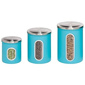 honeycando kch01312 3piece metal nested canister storage set blue - Metal Storage Containers