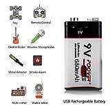 USB 9V Rechargeable Batteries 680mAh 6F22 Battery