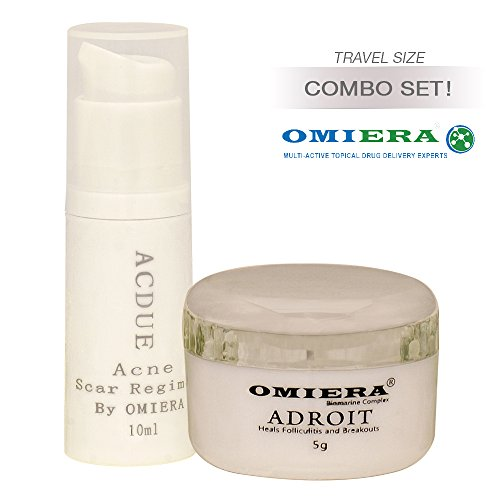 Omiera Labs Acdue Acne Scars Spots Treatment Cream (0.3 fl oz) + Adroit Hair Growth Inhibitor Cream (0.2 fl oz) Skin Care Set Of Two Products