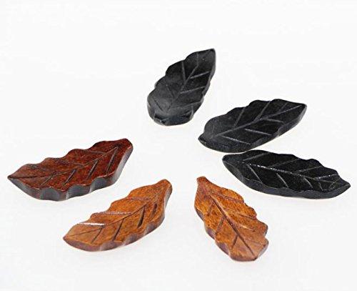 (Islandoffer Handcrafted Wooden Chopstick Rest Spoon Fork Knife Holder leaf Designed, Set of 6)