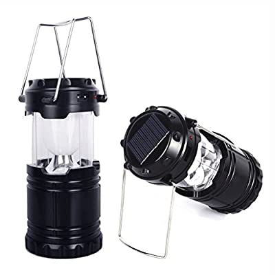 BOYON Ultra Bright Solar LED Camping Lights, Collapsible and Portable Camping Lantern, Rechargeable Lantern Flashlights Great for Home & Outdoor, Camping, Fishing, Hiking, Backpacking, Outages, Workshop and Emergency Use ( Polycrystalline Solar Panels, St