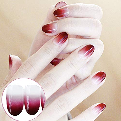 (Aegenacess 24Pcs False Nails Fake Dark Red Oval Design Shiny Bride Press On Gel Nail Acrylic Artificial Manicure Tips French With Double Sided Stickers for Women and)