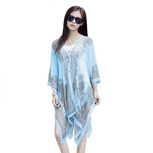 Beach scarf/shawl,IDEGG Women's swimwear beachwear bikini cover up(Blue)