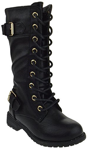 Forever Mango 27K Little Kids Combat Lace Up Boots,Black,2 ()