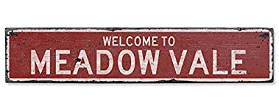 HarrodxBOX Welcome to Meadow Vale Vintage US Meadow Vale, Kentucky Distressed Custom City Sign Decorative Metal Signs for Women Wall Post Tin Sign Present