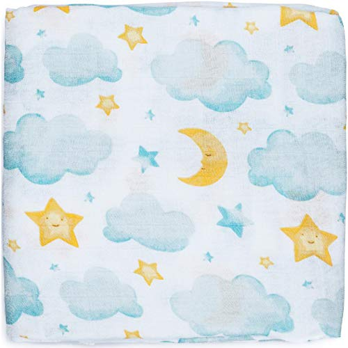 Silky Soft Muslin Swaddle Blanket (Moon & Stars Design 47x47) for Newborn, Unisex, Large Bamboo/Cotton - Receiving Blanket, Swaddling Wrap, Sleepsack, Carseat Cover by adaline - Ideal Baby Shower Gift ()