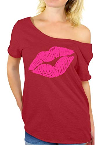 Awkward Styles 80s Shirt Oversized Sexy Neon Pink Lips Shirt 80s Accessories Red L/XL]()
