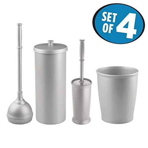 mDesign Bathroom Storage Set, Wastebasket Trash Can, Toilet Bowl Brush with Cover, Plunger with Cover, Toilet Paper Holder - Set of 3, Silver